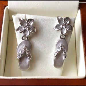 Sterling silver slipper earring